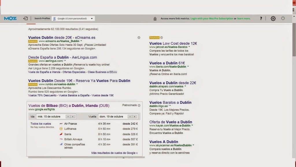 Google apesta. Vuelos a Dublín patrocinados.