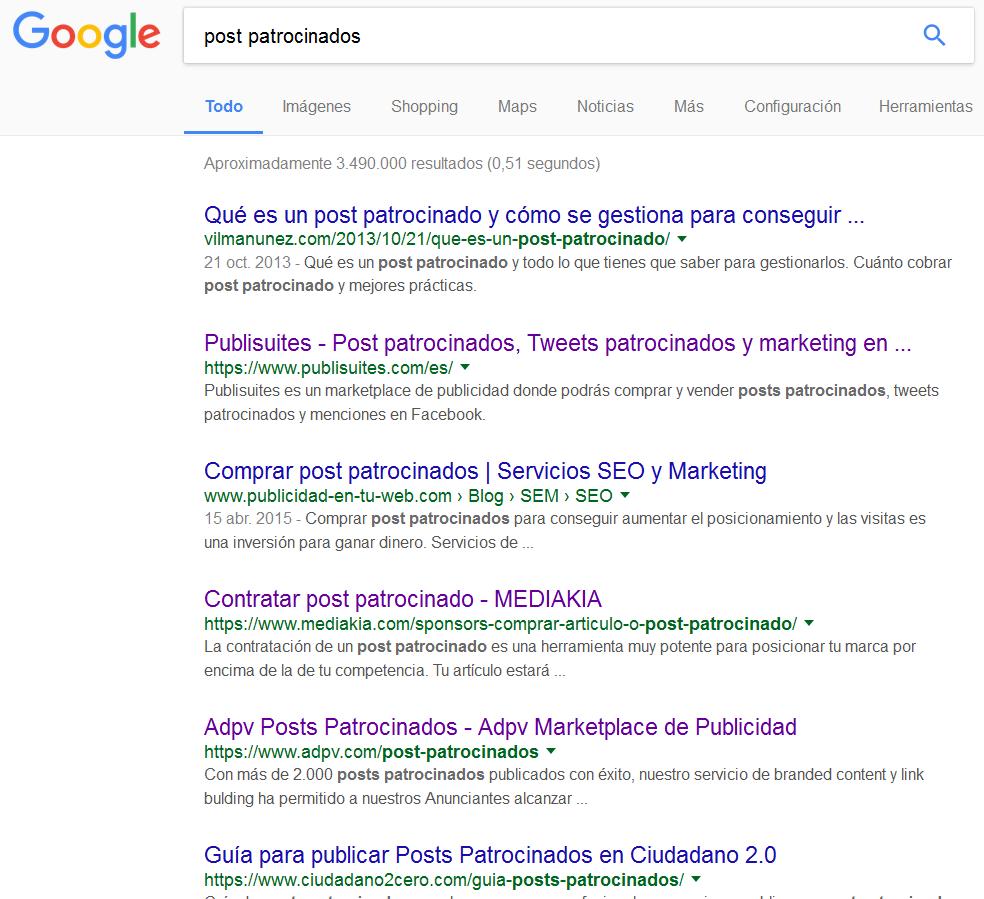 post patrocinados, ejemplo de una búsqueda