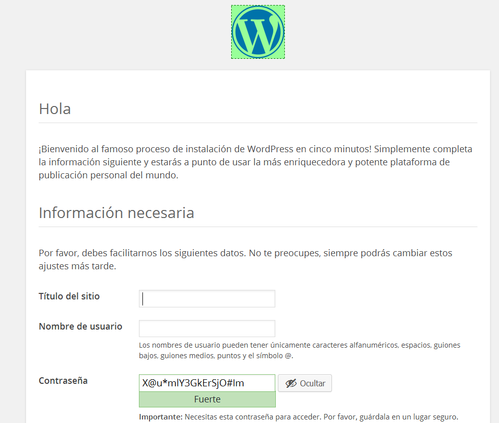 instalacion de wordpress en cinco minutos